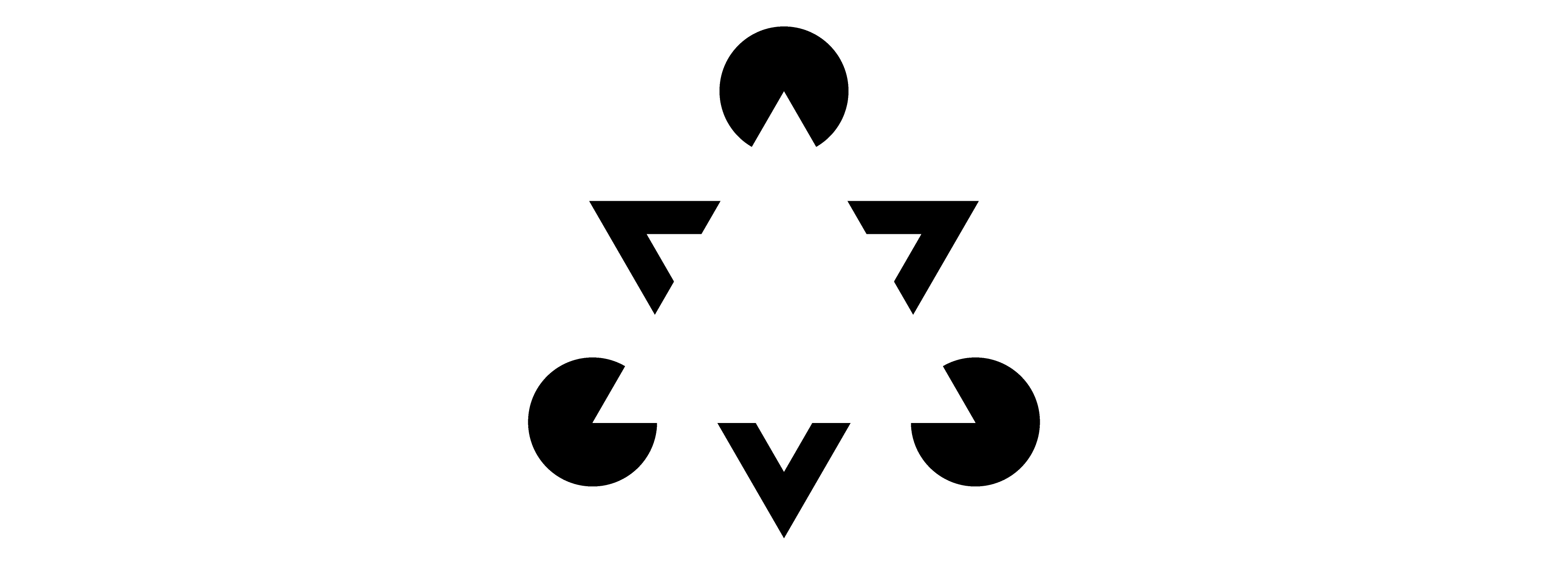 There is an optical illusion where many shapes are forming a triangle
