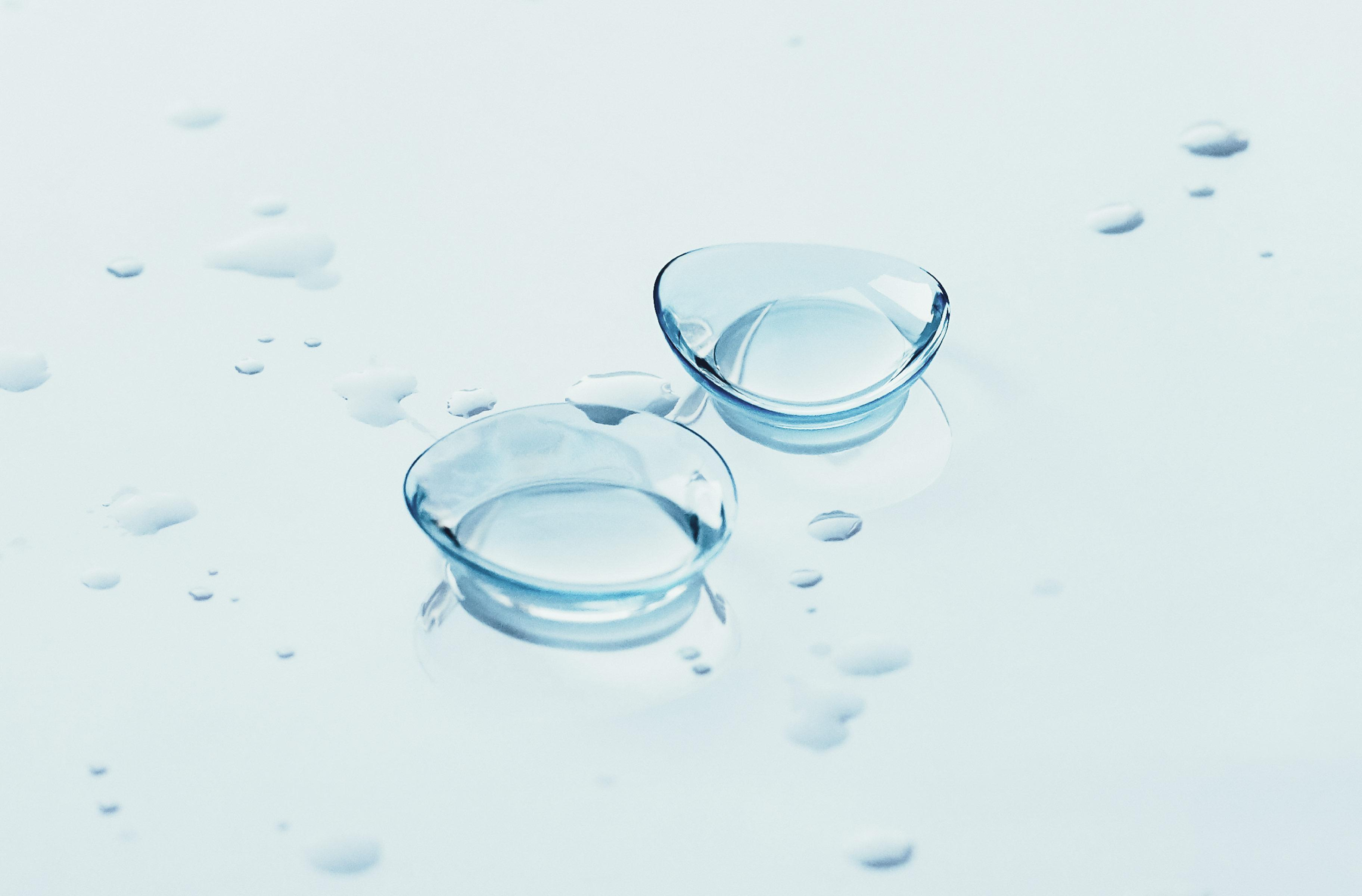 Contact lenses gorged with water