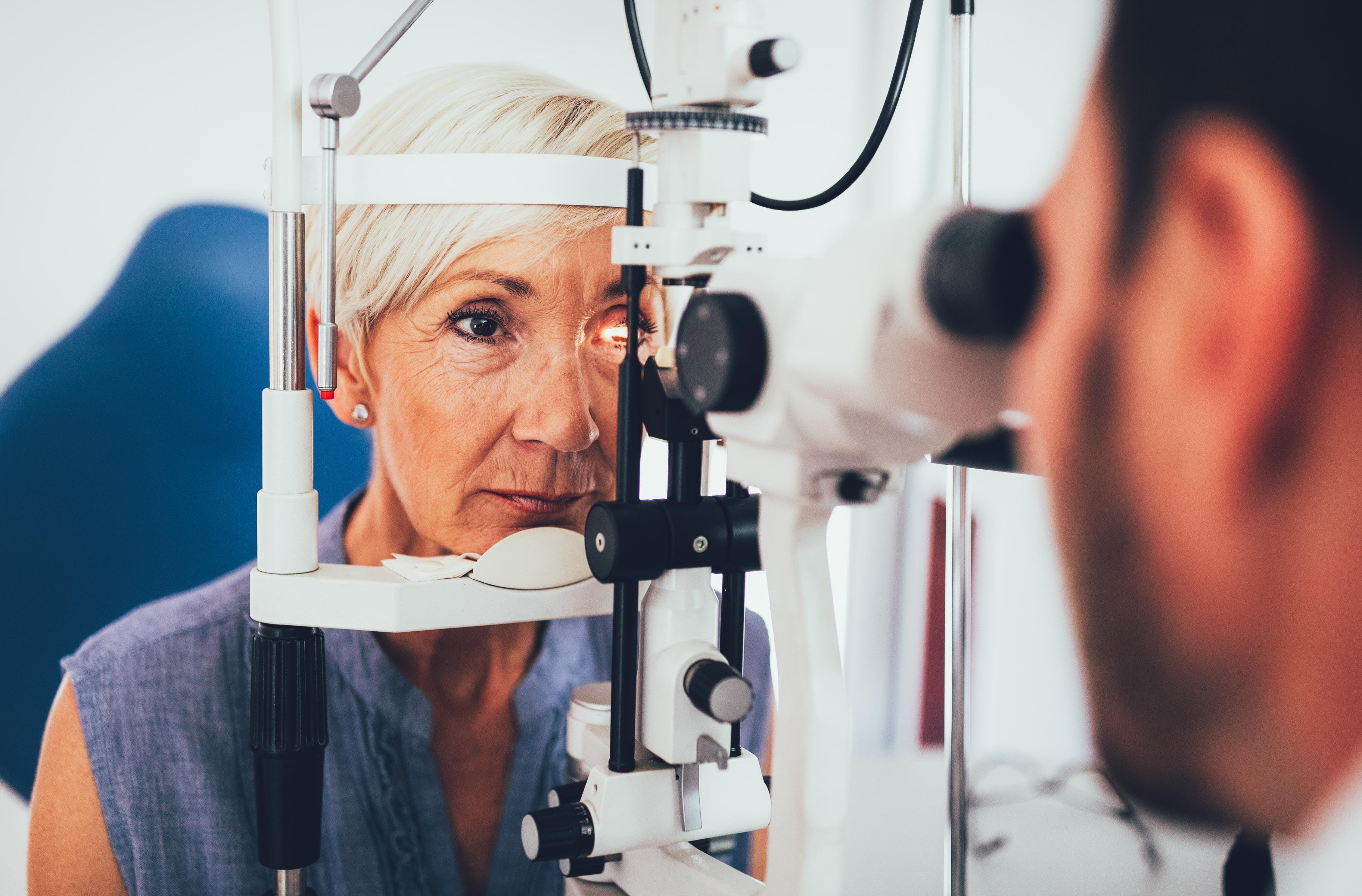 A person who has an eye exam to detect possible glaucoma.