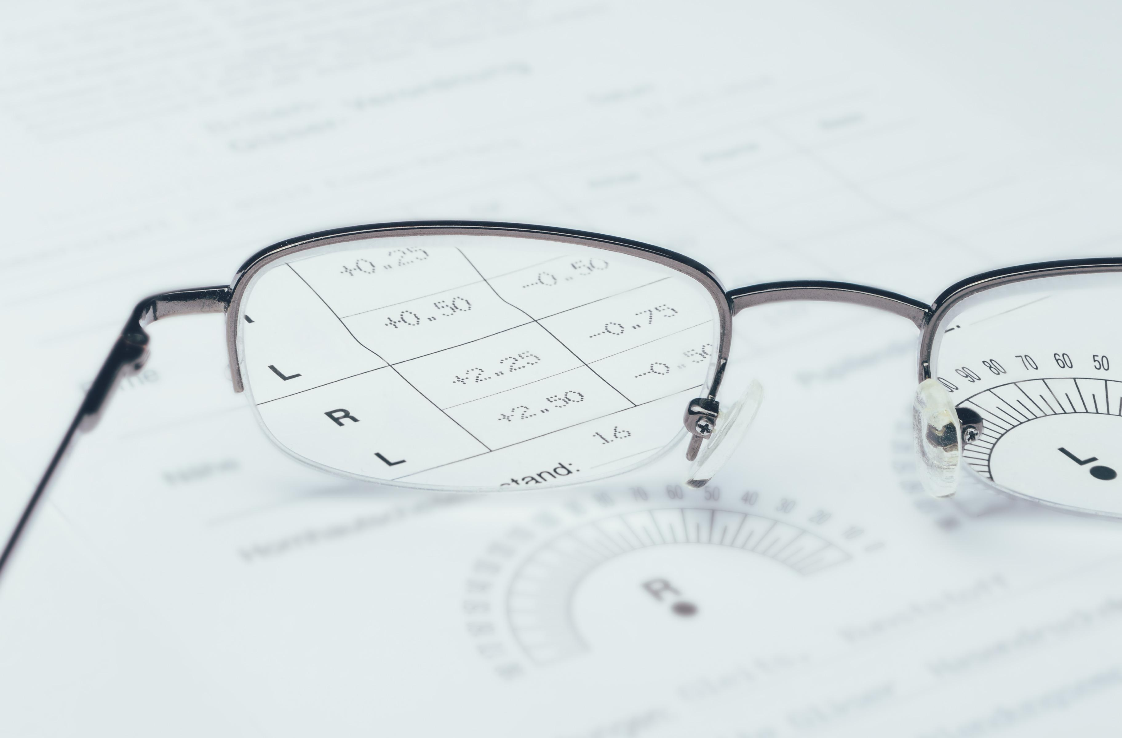 Photo of a pair of glasses on a prescription.