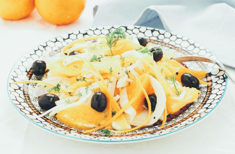 A delicious italian orange salad is on a table