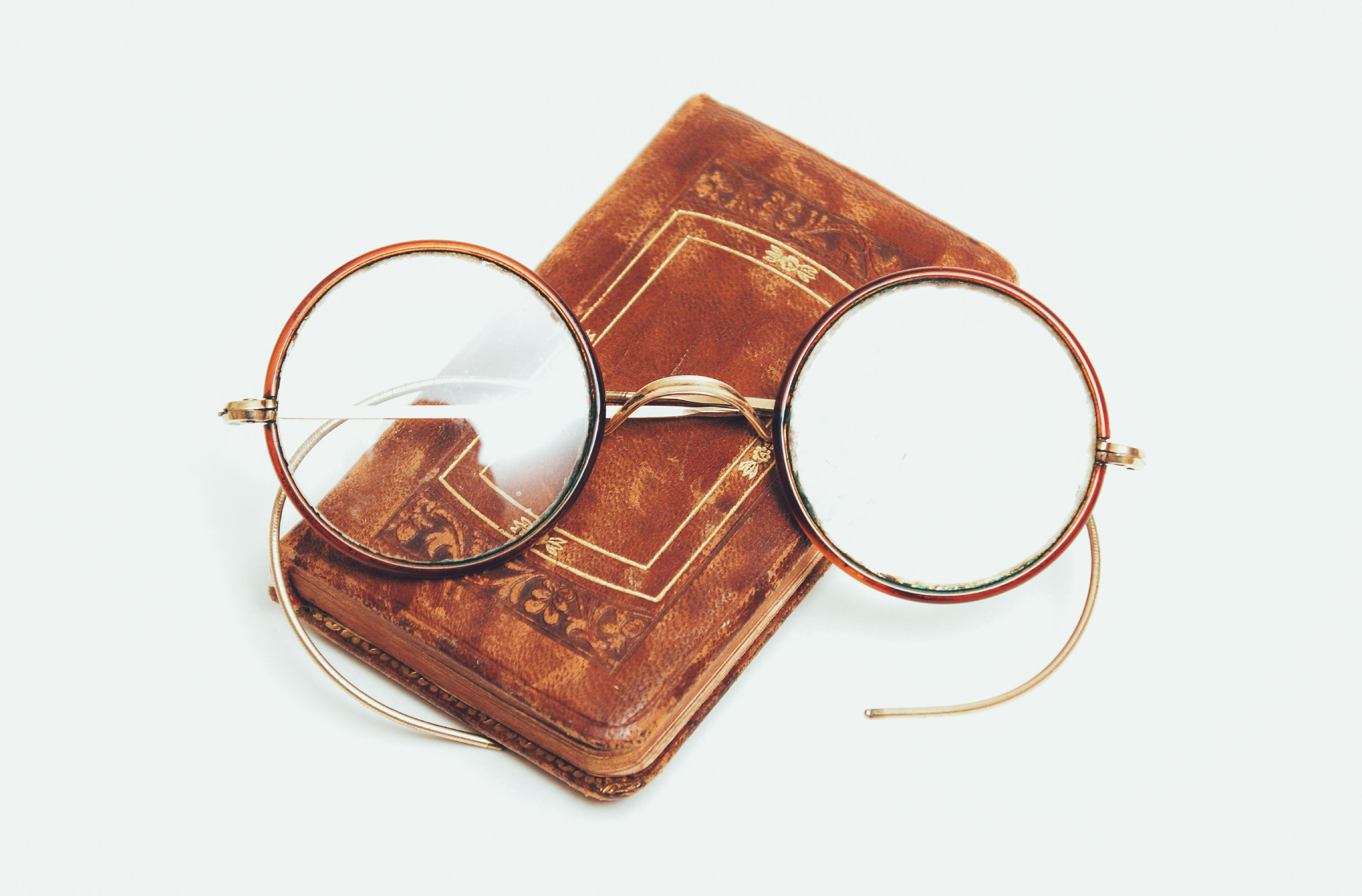 Photo of an ancient pair of glasses, to explain the history of eyeglasses.