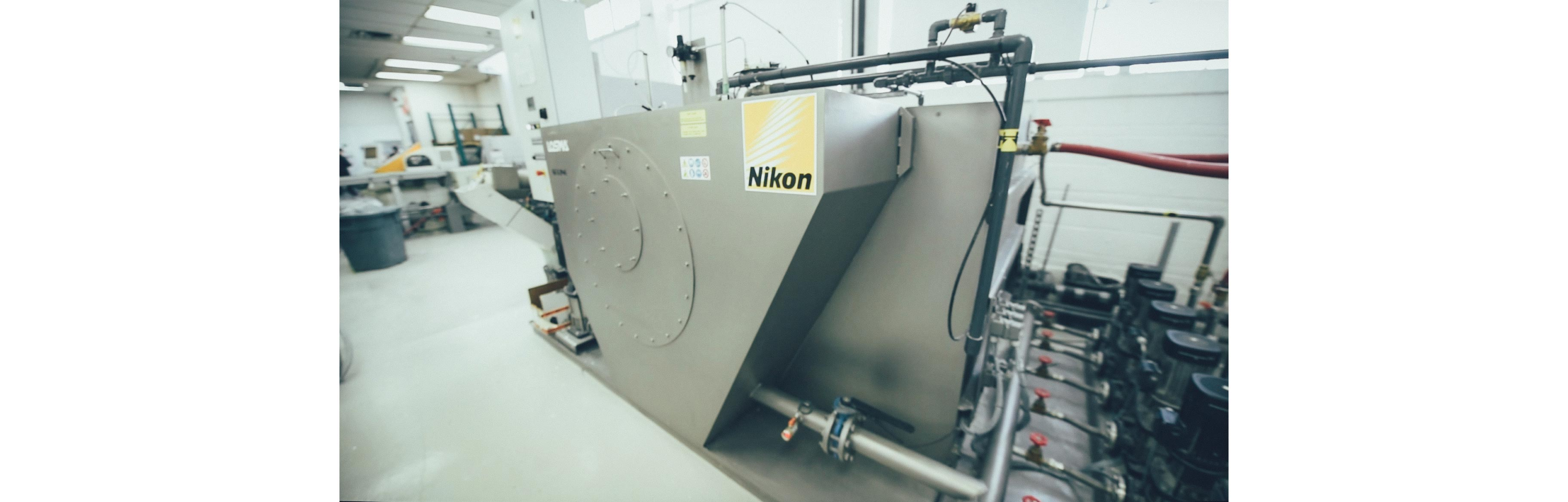 A machine is filtering the water used by the Montreal Nikon plant