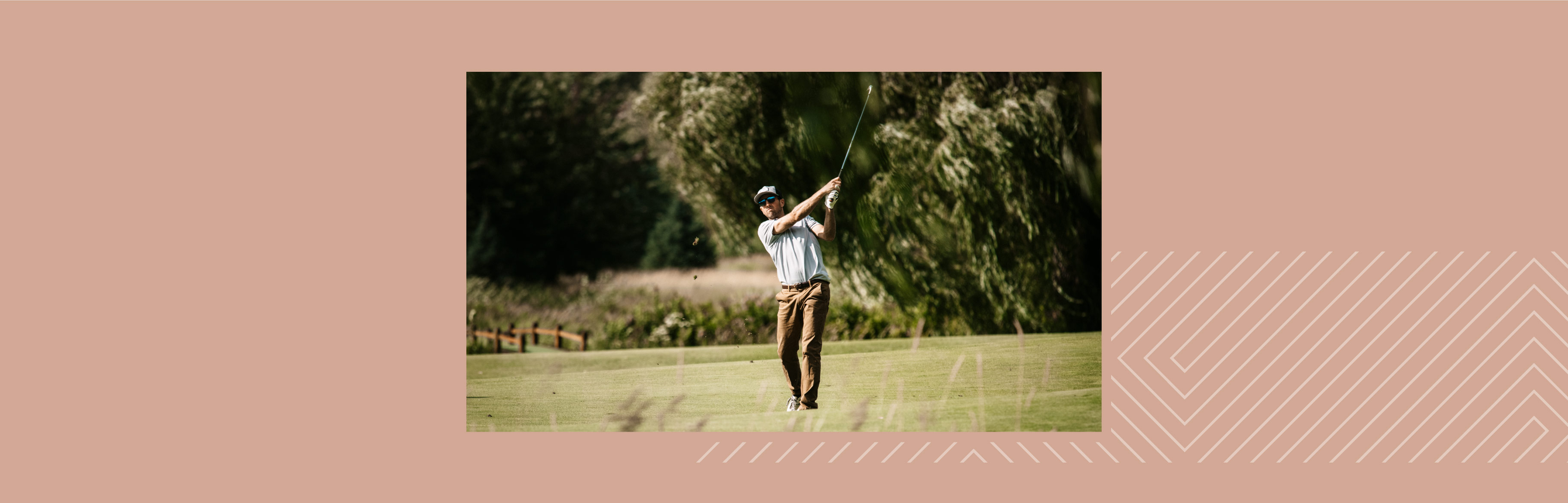 A man is playing Golf and wearing Maui Jim sunglasses