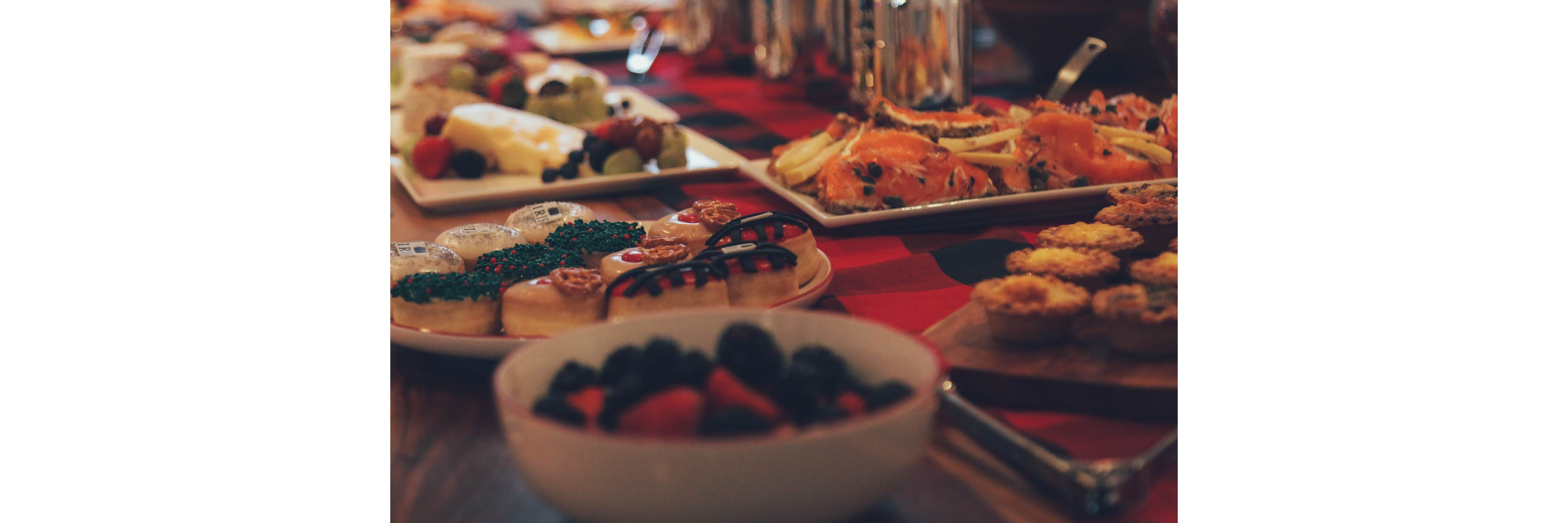 A table filled with delicious Holiday food during the IRIS Ambassadors Brunch 2018
