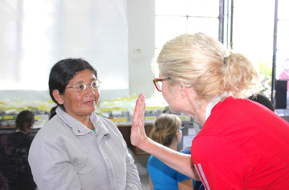 A very short-sighted woman who is examined by the IRIS Mundial team during the last mission to Peru