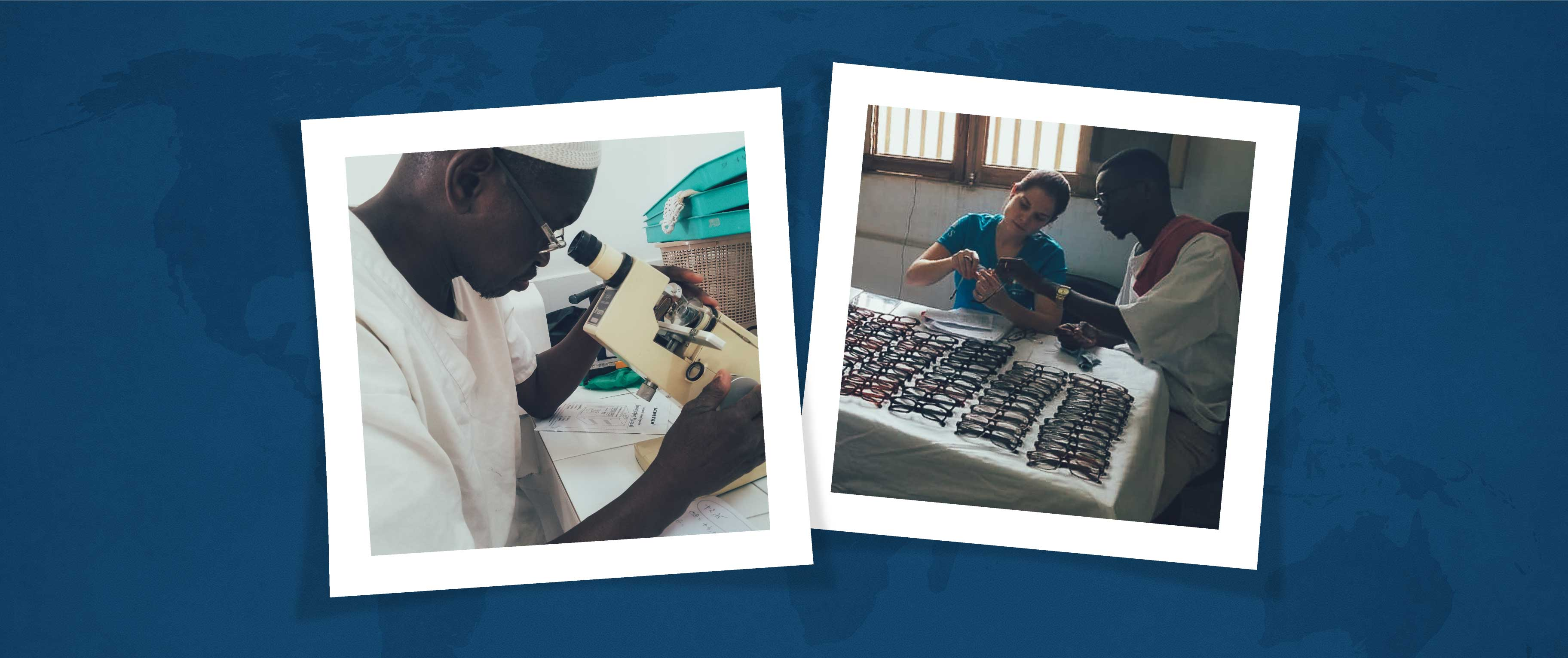 A volounteer is helping a senegalese patient pick his new glasses during the 2019 IRIS Mundial Senegal mission