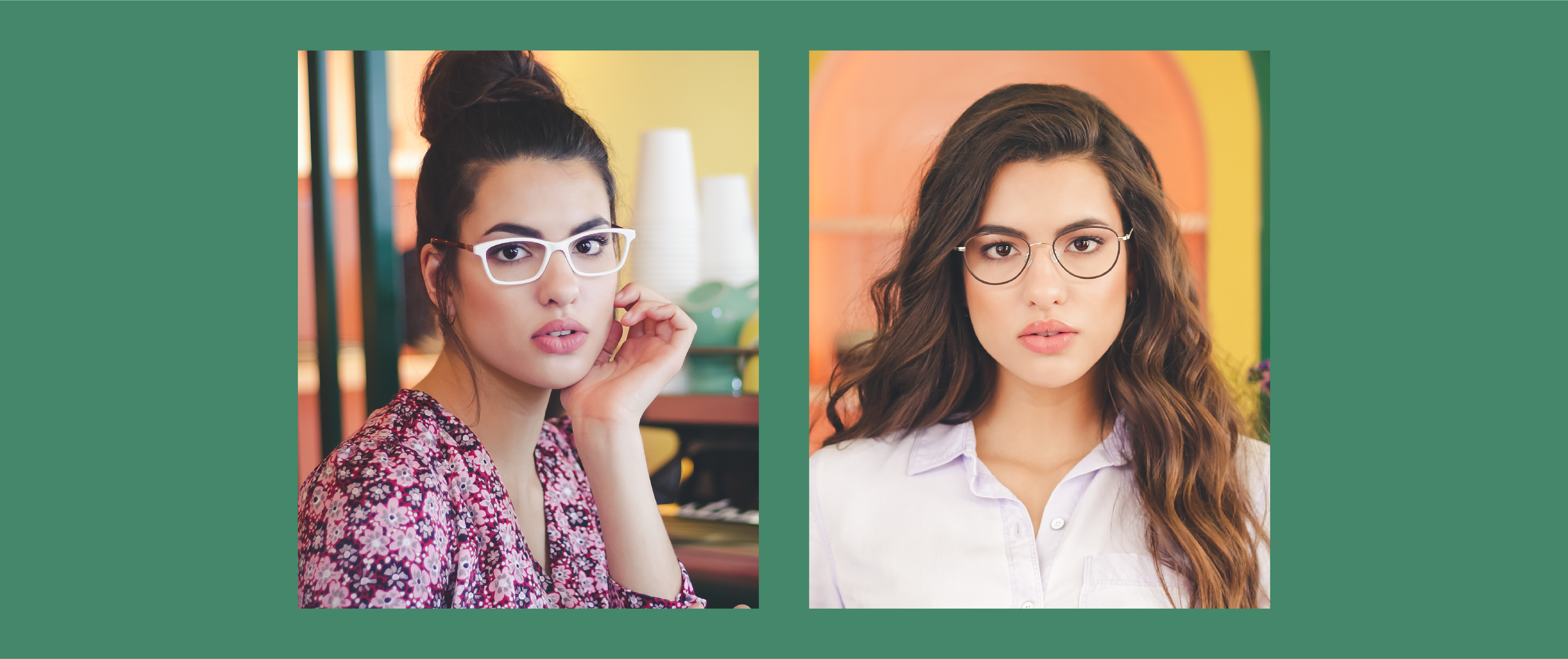A woman is wearing Prodesign 5649 and another woman is wearing KLiiK K631 frames