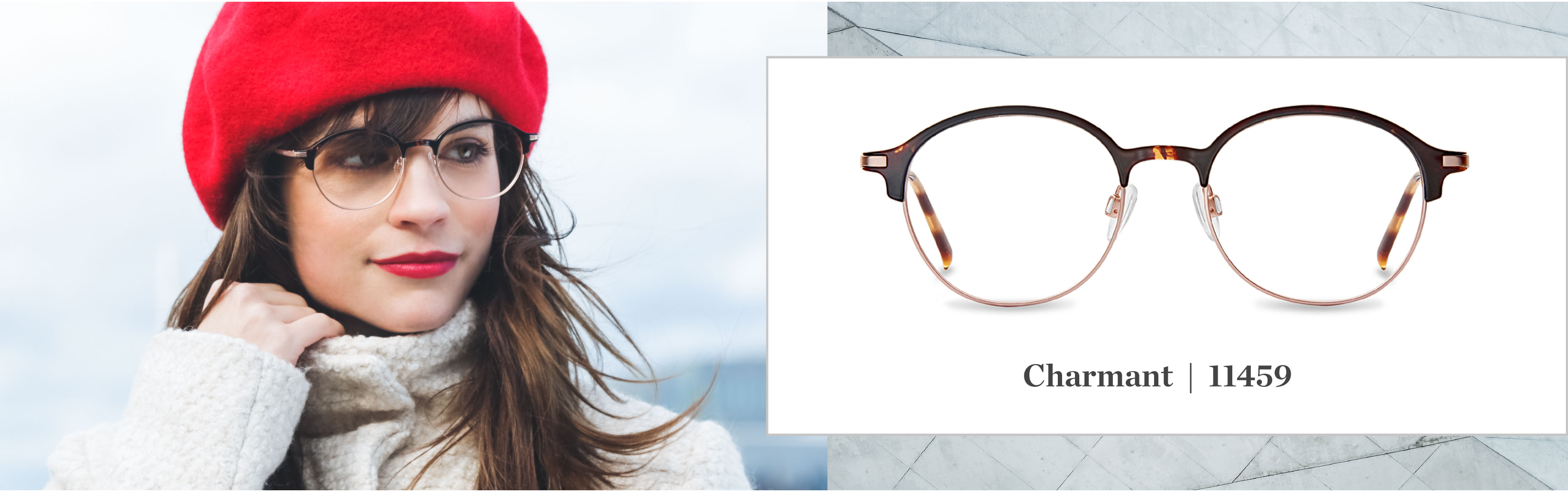 A young woman is standing in front of Montreal's Old Port in the winter, she's wearing CHARAMANT glasses