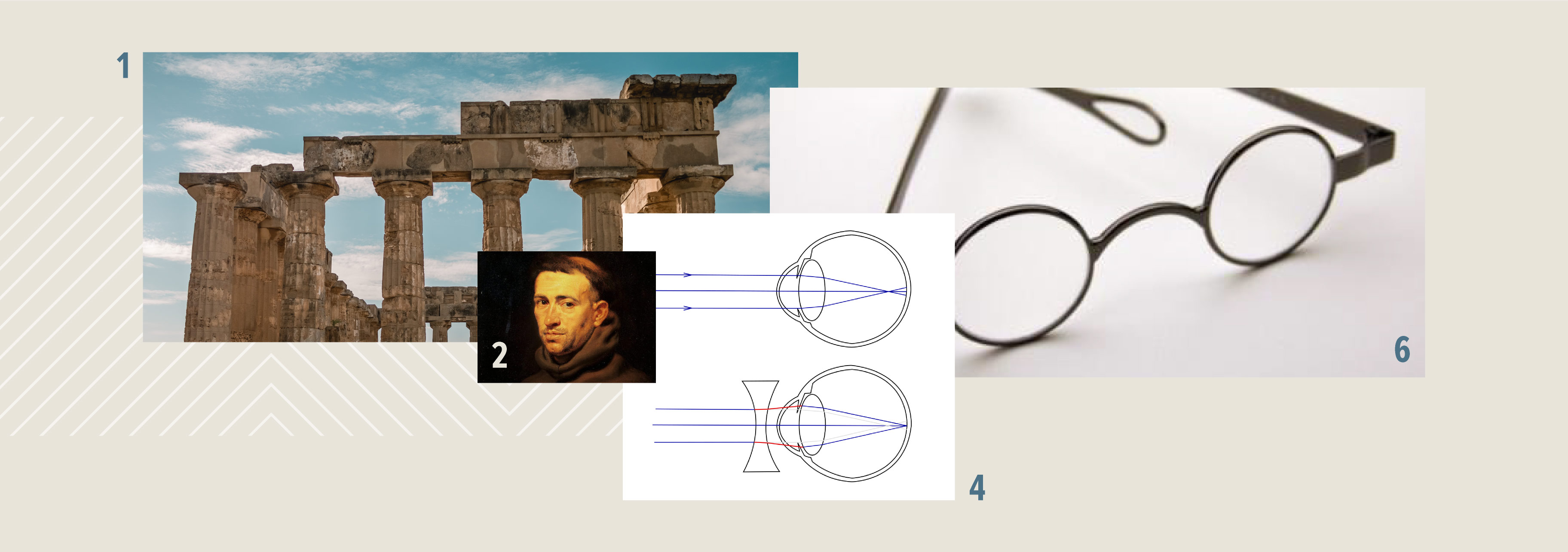 Collage of photos of old greek architecture, a Franciscan Monk painting, a graphic of myopia and glasses with rigid temples.