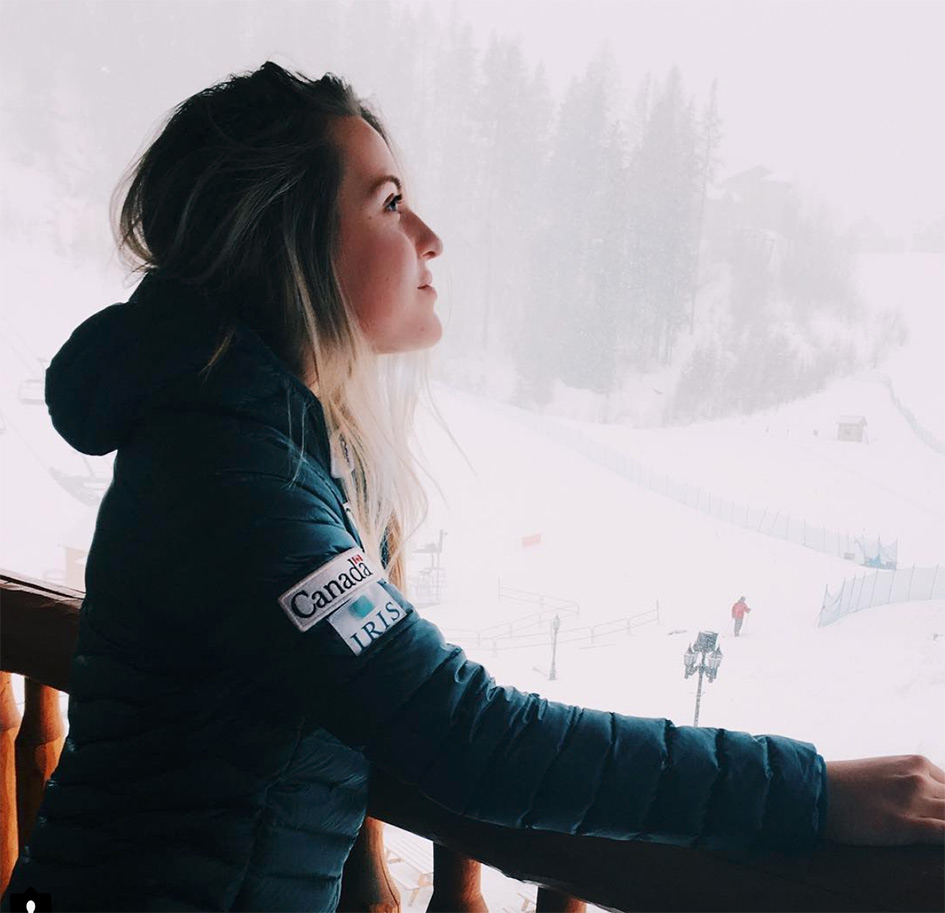 Frédérique Turgeon watching a ski slope with a beautiful white snow