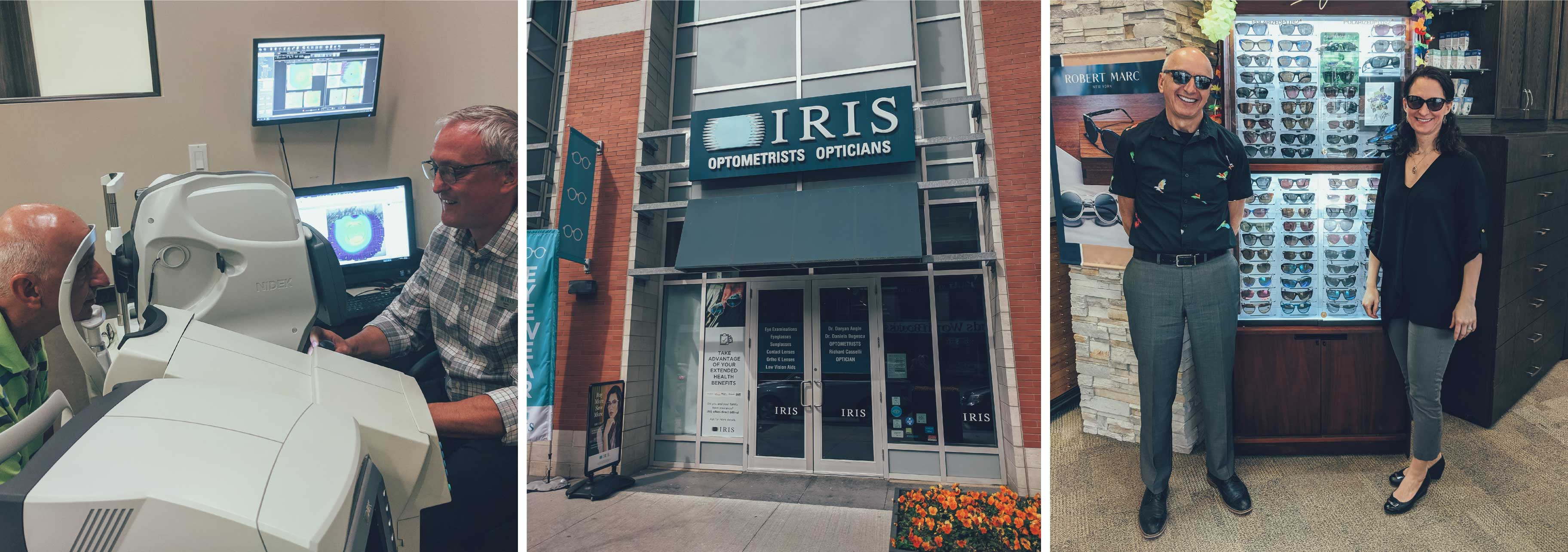 The team at IRIS Waterloo is standing in from tof the sunglasses stand and a patient is having an eye exam
