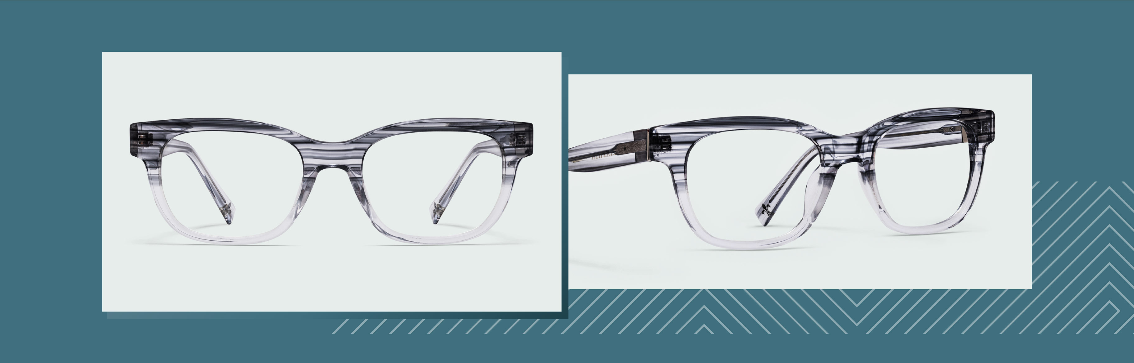 Transparent glasses with a stripe pattern that matches in all circumstances