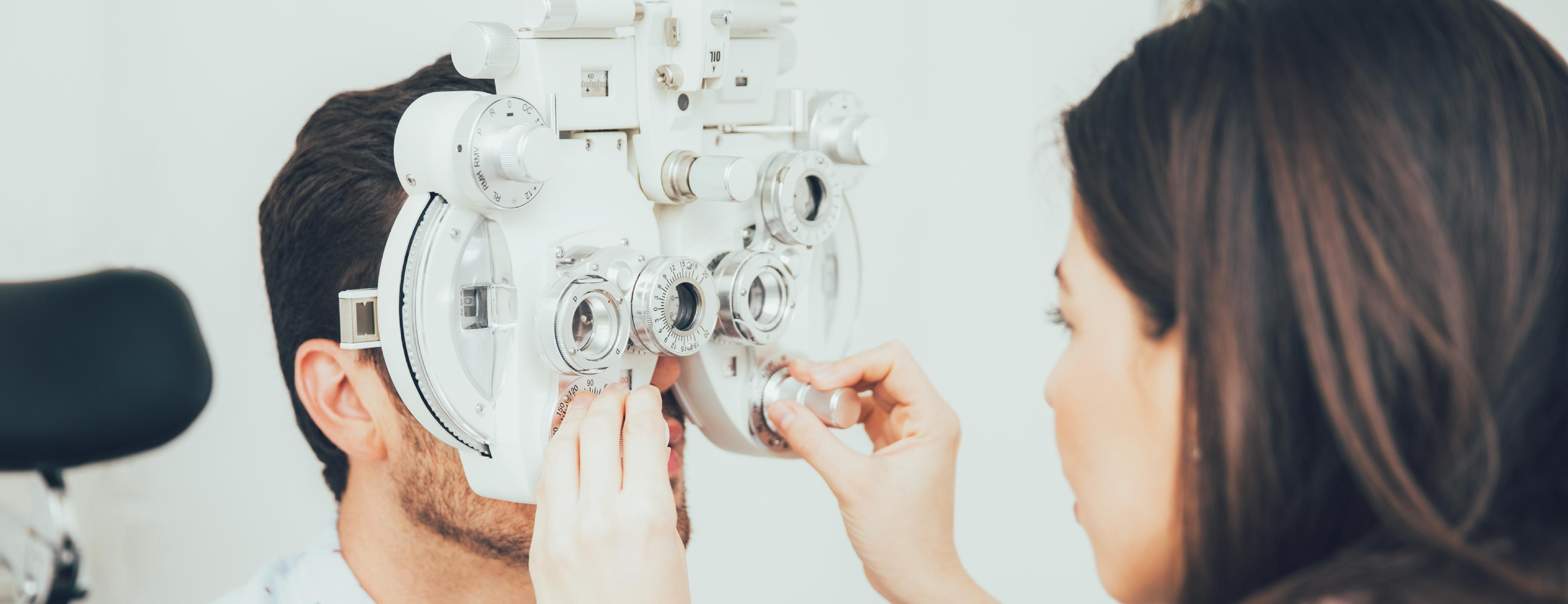 Young man during his vision therapy exam